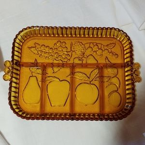 Vintage Amber Indiana Glass Relish Serving Tray